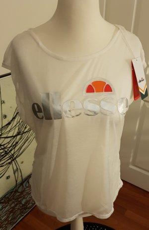 Ellesse Camisa recortada blanco-color plata