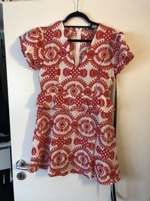 PrettyLittleThing Peplum Dress white-red mixture fibre