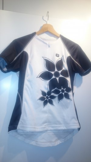 Camisa deportiva negro-blanco tejido mezclado
