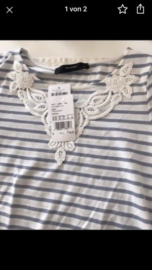 Hallhuber T-shirt wit-azuur Katoen