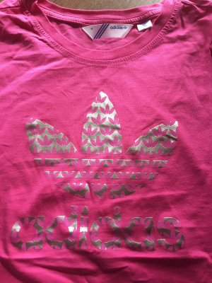 Neues ungetragenes Statement Shirt von ADIDAS ORIGINALS, Trefoil, pink mit Metallicprint, Gr. 36/38
