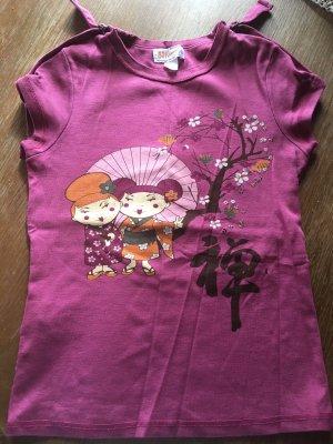 Neues ungetragenes T-Shirt mit Asia Print, Berry, Farbe des Jahres, Gr. SMALL