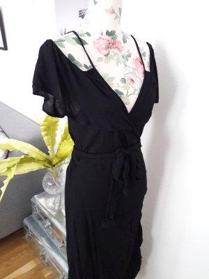 Neues Wickelkleid, schwarzes Maxikleid mit Volants