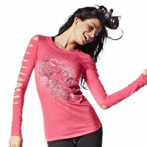Neues Zumba Fitness Langarm Shirt pink
