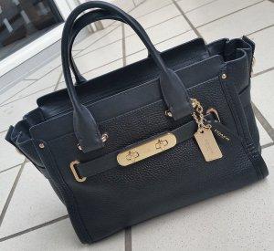 Neuw. COACH Swagger 27 in Pebbled Leder Designer Tasche schwarz