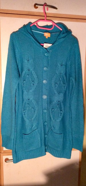 Charles Vögele Coarse Knitted Jacket green-dark blue polyacrylic