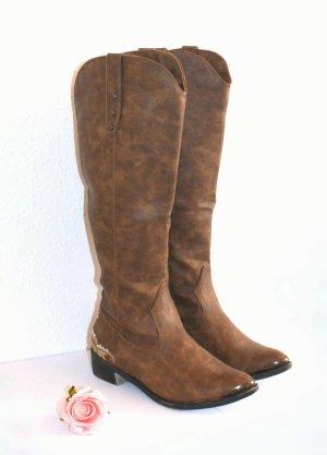 Neuw. Stiefel Cowboy gr. 37 Braun Blogger Style