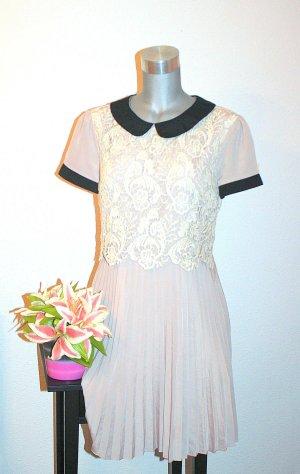 Neuw. Vintage Style Kleid gr. 40 Häkel Spitze, Plissee, Buikragen
