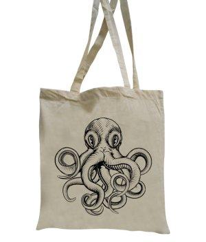NEUWARE! Jutebeutel lange Henkel Krake Oktopus, Tote Bag Baumwolltasche