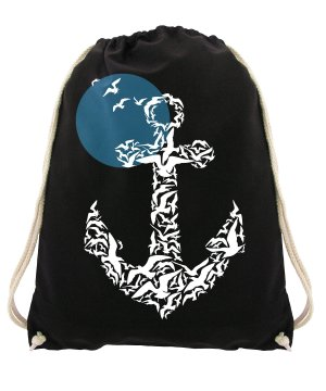 Canvas Bag black-steel blue cotton