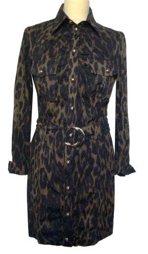 neuwertig 36 S AIRFIELD Designer Kleid dress Leo animal schwarz sand elastisch