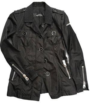 Airfield Veste longue noir-argenté tissu mixte