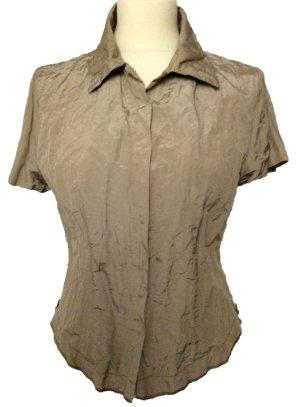 neuwertig 38 S AIRFIELD shirt Bluse Hemd beige sand mit Metallfäden