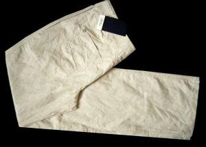 NEUWERTIG 38 S M ORWELL Designer Hüft Hose Jeans Metallfäden bügelfrei beige