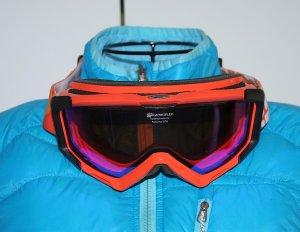 Neuwertig ALPINA Skibrille mit Quattroflex Mirror Scheibe Schneebrille Ski Brille orange