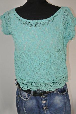 Neuwertig - Bershka Blogger Shirt Spitze Lace Türkis -