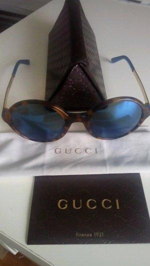 Gucci Occhiale da sole rotondo marrone-blu