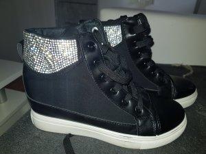 NEUWERTIG! Damen Keilabsatz Sneakers m. Strass
