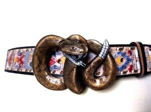 neuwertig Gürtel echt Leder braun gold Indianer Klapperschlange 80-85 cm