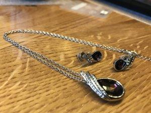 NEUWERTIG * Halskette mit Strass im Set mit Stecker Ohrstecker Ohrringe