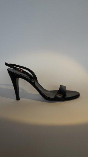 Neuwertig! Hochwertige Sandalette in schwarzem Leder und Absatz