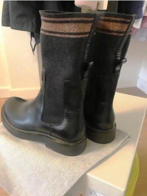 Brunello Cucinelli Jackboots black leather