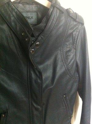 neuwertig Only S 36 Lederjacke Bikerjacke anthrazit grau schwarz/grau Echtleder Biker