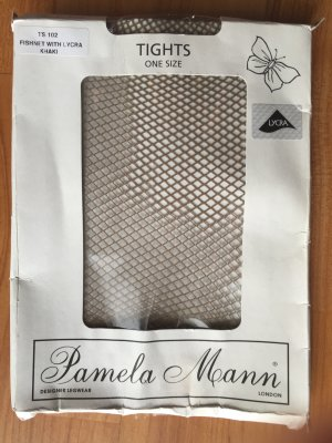 Neuwertig PAMELA MANN London Designer Netzstrumpfhose Netz fishnet beige khaki