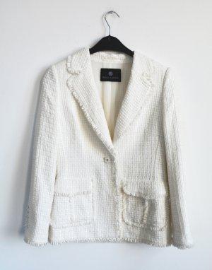 Neuwertig RENA LANGE Jacket Jacke Blazer Boucle Tweed weiss D 38 M