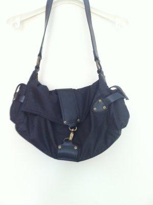 Neuwertig! Schwarze Tasche mit Seitentasche für Handy (Stoff & Leder,)