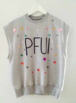 NEUwertig ++ top Pullover The Shit Shop Pfui Sweater von Bonnie Strange ++ only Longtop