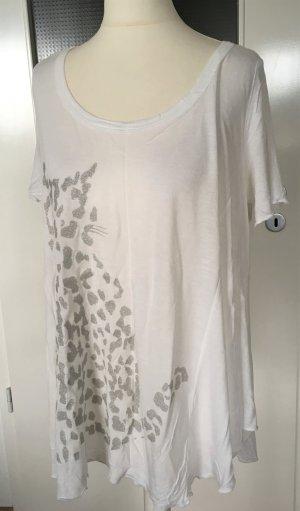 Neuwertig Vero Moda Oversize Top Maxi T-Shirt XS 34 Bluse Print Weiß
