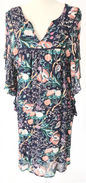 * neuwertig * VIOLETA Mango Kleid Sommerkleid 40 42 L blau türkis lachs geblümt blumen sommer boho hippie festival