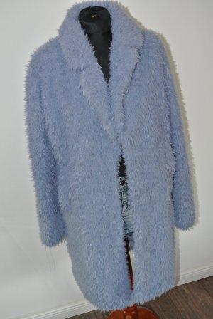 Neuwertig - Zara Fake Fur Fell Mantel blau -