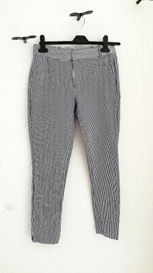 Zara 3/4 Length Trousers steel blue-white cotton