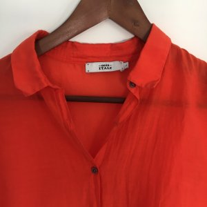 Neuwertige Bluse in leuchtendem Rot, Cotton-Seide-Mix