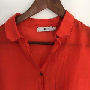 Neuwertige Bluse in leuchtendem Rot, Cotton-Seide-Mix