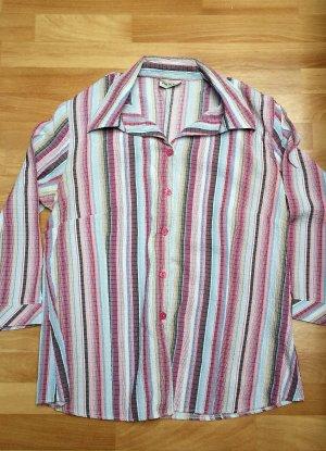 neuwertige Bluse in rosa altrosa weiß/ 3/4 arm/ Canda/ Gr. 42