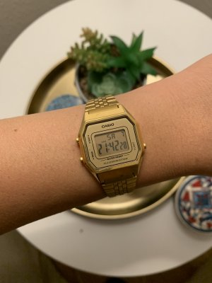 Casio Digital Watch sand brown stainless steel