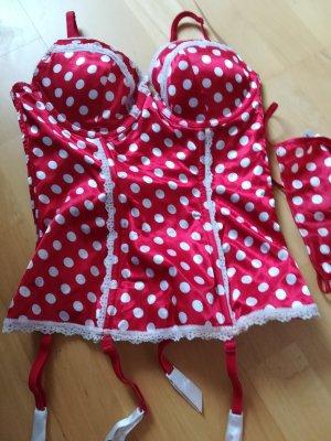 frederick's Ensemble de lingerie blanc-rouge