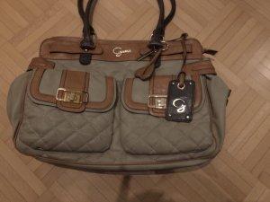 Neuwertige Guess Handtasche gestepptes Kunstleder grau/taupe