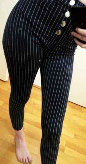 Bershka Hoge taille broek wit-donkerblauw