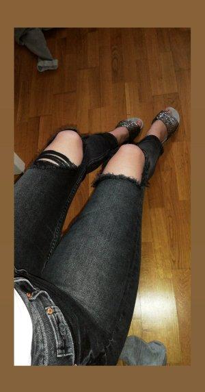 H&M Jeans taille haute gris foncé-gris anthracite