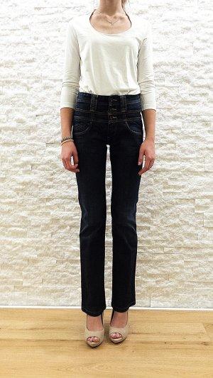 Neuwertige High Waist Jeans in dunkelblau von Pepe Jeans, Gr. 26/32