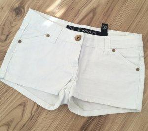 Neuwertige Karma Denim Jeans Shorts XS 34 S 36 Hotpants Weiß Nude kurze Hose Sommerhose