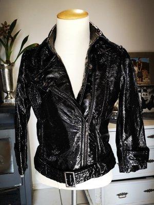 Neuwertige Lacklederjacke von Mango Suit Gr S schwarz Lederjacke Lackleder Jacke