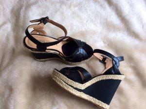Buffalo Wedge Sandals black-cream leather