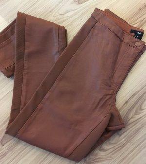 Neuwertige Leder Leggings H&M 34 XS Cognac High Waist Skinny Biker Hose