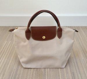 Neuwertige LONGCHAMP Le Pliage Handtasche, Größe S, elfenbein