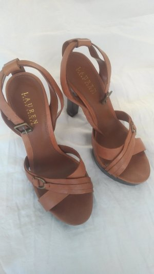 Ralph Lauren Strapped High-Heeled Sandals brown leather